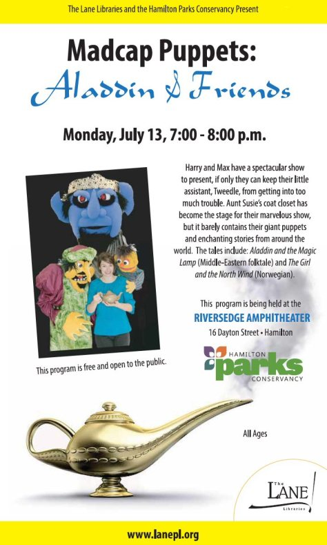 The Lane Library presents the Madcap Puppets at the RiversEdge Amphitheatre, July 13. Free event.