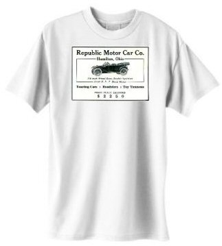 Although the Republic Motor Car Company manufactured 1,200 automobiles between 1909 and 1914, no known specimens exist. Except the one you'll be wearing.
