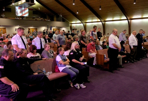 E.L. Hubbard/HEY!Hamilton! Police officers, firefighters, EMT's, and past and present military were honored during the Heroes Day program, a celebration to show support at the Hamilton Christian Center in Hamilton Sunday, September 27, 2015.