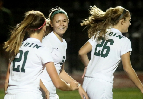 Hey!Hamilton!/E.L. Hubbard Badin midfielder/forward Marissa Kah (6) smiles after scoring a goal against Preble Shawnee during their Division III sectional girls soccer game at Eaton Monday, Oct. 26, 2015. Badin won the contest, 4-0.