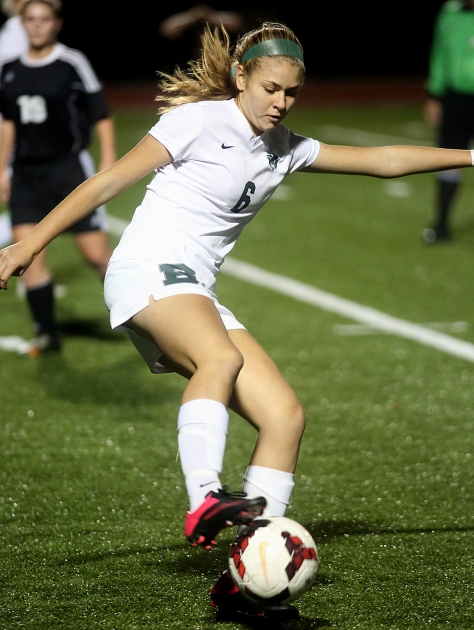 Hey!Hamilton!/E.L. Hubbard Badin midfielder/forward Marissa Kah controls the ball during their Division III sectional girls soccer game against Preble Shawnee at Eaton Monday, Oct. 26, 2015. Badin won the contest, 4-0.